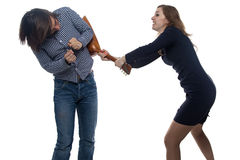 Aggressive woman and man Royalty Free Stock Image