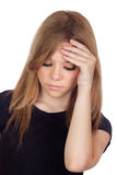 Aggressive woman with migraine Royalty Free Stock Image