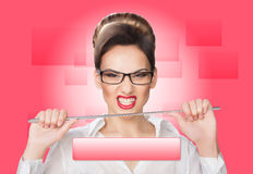 Aggressive woman with a pointer. concept Stock Images