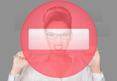 Aggressive woman with a pointer. concept Royalty Free Stock Photo