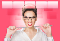 Aggressive woman with a pointer. concept Royalty Free Stock Photography