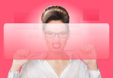 Aggressive woman with a pointer. concept Stock Photo
