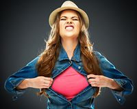 Aggressive woman ripping clothes. concept screaming  woman port. Rait . copy space for advertising sign Stock Image