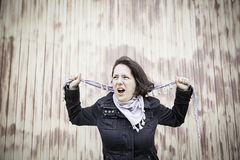 Aggressive woman screams Royalty Free Stock Photo