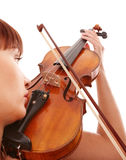 Aggressive young girl with fiddle. Stock Images