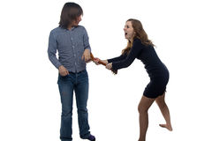 Aggressive young woman and man Stock Image