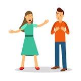 Aggressive young woman woman shouting at man vector Illustration Royalty Free Stock Photo
