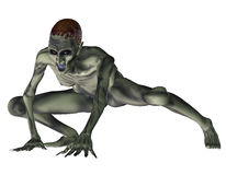 Aggressive zombie. 3d rendering of a zombie in the squat as illustration Royalty Free Stock Image
