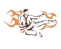 Aggressives Fliegen-lodernder Tritt-Taekwondo-Athlet In Action Logo Lizenzfreie Stockfotografie