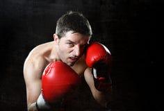 Aggressives Kämpfermannboxen verärgert mit den roten kämpfenden Handschuhen, die in der Boxerposition aufwerfen Lizenzfreies Stockbild