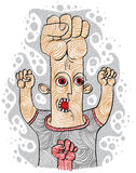 Aggressor concept, hand-drawn illustration of weird person Royalty Free Stock Photography