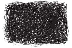 Aggrovigliato su bianco Modello di caos Schizzo dello scarabocchio Fondo con matrice delle linee Struttura caotica complessa Crea illustrazione di stock