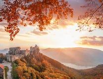 Aggstein kasztel z jesień lasem w Wachau, Austria Zdjęcia Royalty Free