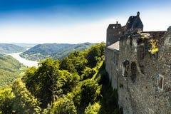 Aggstein kasztelu ruina na Danube rzece niski Fotografia Royalty Free