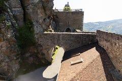 Aggstein kasztelu ruina na Danube rzece niski Zdjęcie Royalty Free