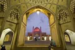 Agha Bozorg meczet w Kashan w wieczór i szkoła, Iran Obraz Royalty Free