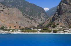 Aghia Roumeli på den Crete ön i Grekland Arkivbilder