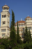 Aghios Nektarios monaster w Egine wyspie Fotografia Royalty Free