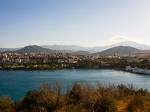 Aghios Nicolaos harbor, view from the hill Royalty Free Stock Photos