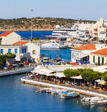Aghios Nikolaos city at Crete island in Greece. View of harbor Royalty Free Stock Image