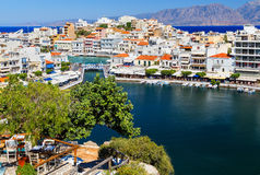 Aghios Nikolaos city at Crete island in Greece. View of harbor Royalty Free Stock Photography