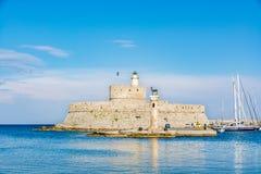 Aghios Nikolaos Forteczny fort święty Nicholas, Rhodes, Grecja Zdjęcie Royalty Free