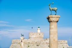 Aghios Nikolaos Forteczny fort święty Nicholas, Rhodes, Grecja Zdjęcia Royalty Free