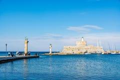 Aghios Nikolaos Forteczny fort święty Nicholas, Rhodes, Grecja Obrazy Royalty Free