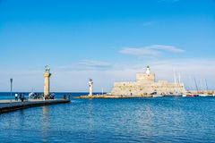 Aghios Nikolaos Fortress Fort of Saint Nicholas, Rhodes, Greece Royalty Free Stock Images