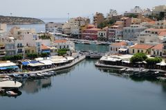 Aghios Nikolaos miasto przy Crete wyspą w Grecja Obraz Stock