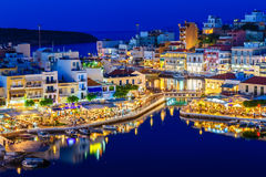 Aghios Nikolaos night view - picturesque town in the eastern of island Crete built on northwest side of the peaceful bay Royalty Free Stock Image