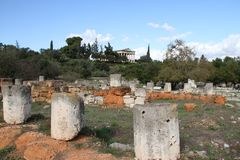 Aghora, Athens, Greece. Ruins of Aghora,  Athens Greece Royalty Free Stock Photos