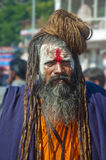 Aghori Sage at Haridwar, India. Haridwar is a religious city of India, which attracts the pilgrims and devotees across the world. Hundreds of Aghori sages came Stock Photo