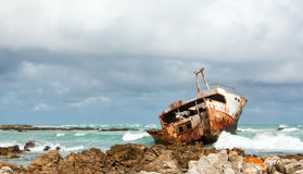 Aghullas shipwreck lying on the rocks Royalty Free Stock Images