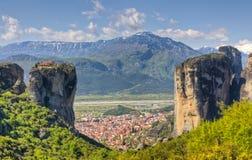 agia希腊kalabaka修道院triada视图 免版税库存照片