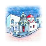 Agia anna kyrka på ön Mykonos, Grekland vektor illustrationer