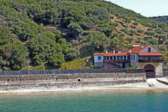 Agia Anna monastery guesthouses in Mount Athos Stock Image