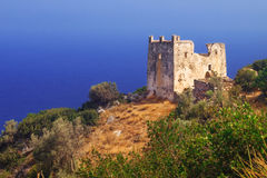 Agia Ayia tower ruins on Naxos island Royalty Free Stock Photo