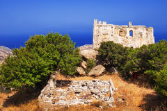Agia Ayia tower ruins on Naxos island Stock Images