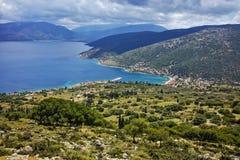 Agia Efimia镇, Kefalonia,爱奥尼亚人海岛全景  免版税图库摄影