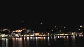 Agia Efimia port przy nocą Zdjęcia Stock