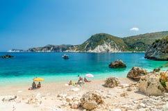 Agia Eleni plaża Kefalonia, Grecja Zdjęcie Stock