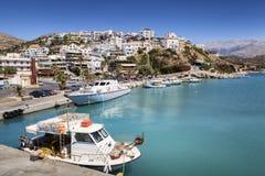 Agia Galini on Crete Island, Greece. Moored boats in Agia Galini harbour on Crete Island, Greece Stock Photo