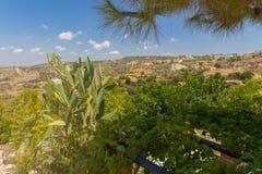 Agia Irini, Grecja Lipiec 27 2016: Ogród w Agia Irini Monaste Obraz Stock