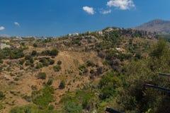 Agia Irini, Grecja Lipiec 27 2016: Panoramiczny widok góry Obrazy Royalty Free