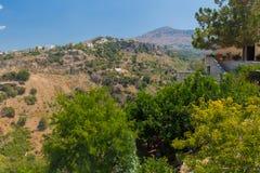 Agia Irini, Grecja Lipiec 27 2016: Panoramiczny widok góry Zdjęcia Stock