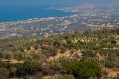Agia Irini, Grecja Lipiec 27 2016: Panoramiczny widok Rethymno f Obraz Royalty Free
