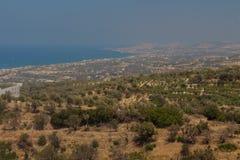 Agia Irini, Grecja Lipiec 27 2016: Panoramiczny widok Rethymno f Zdjęcia Royalty Free