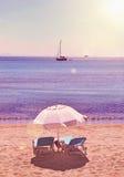 Agia Marina wieczór zmierzchu plaża Aegina Grecja Obrazy Royalty Free