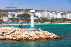 Agia Napa Marina widok, biała latarnia morska Zdjęcia Stock